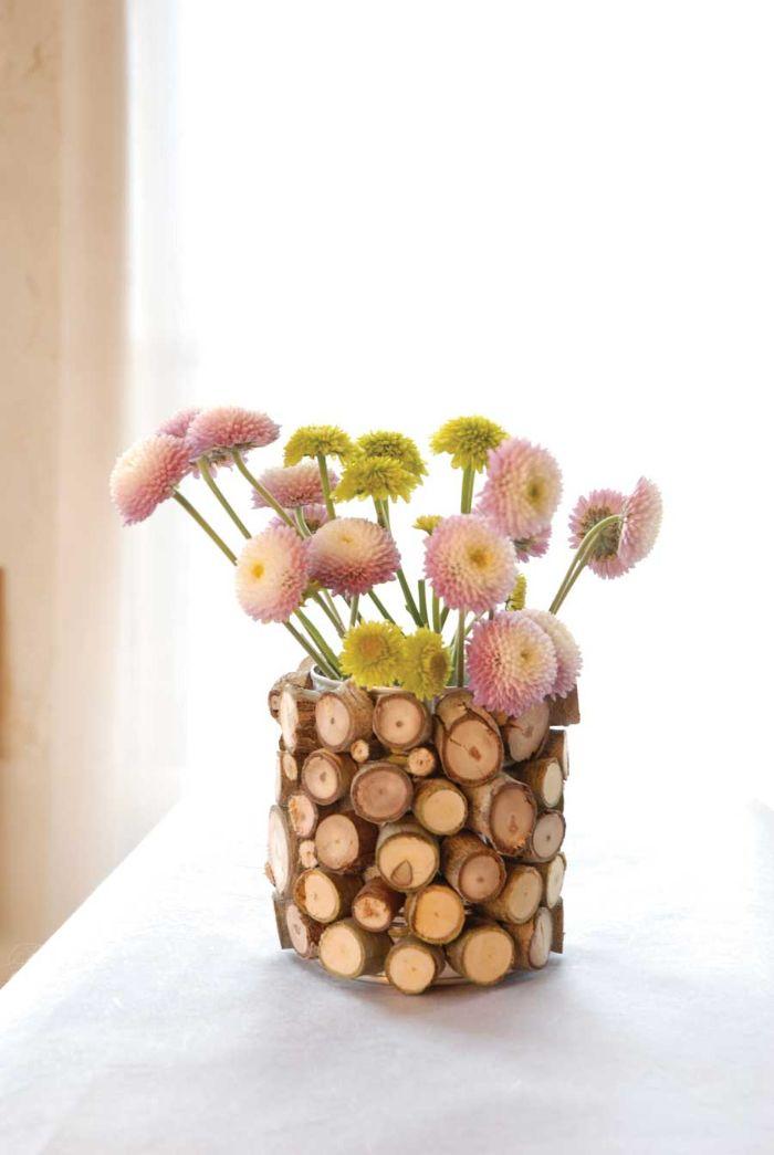 vase personnalisé rondin de bois déco idées inspirantes pour créer une ambiance unique