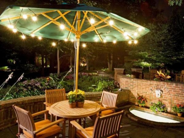 éclairage de jardin DIY accrocher sous le parasol