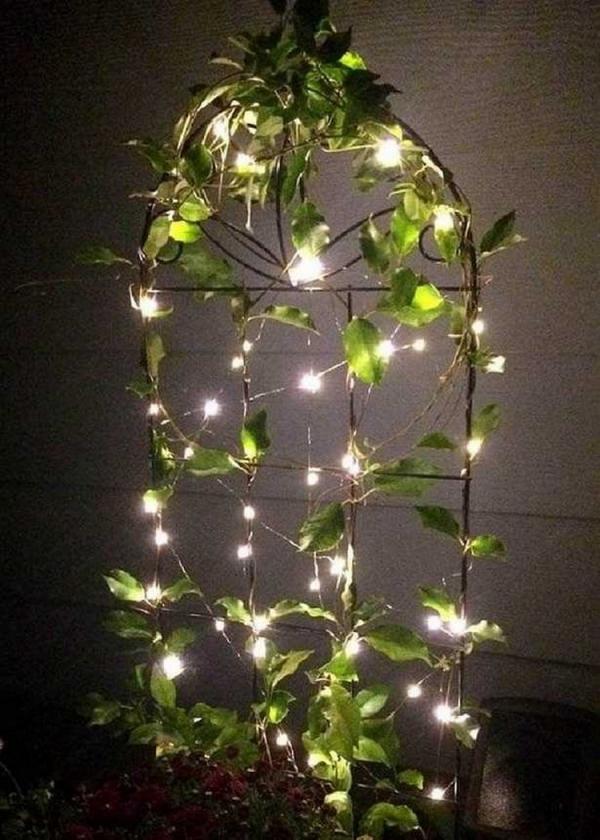 éclairage de jardin DIY grillage métallique