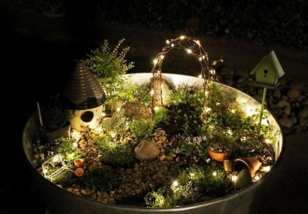 éclairage de jardin DIY petit coin forestier