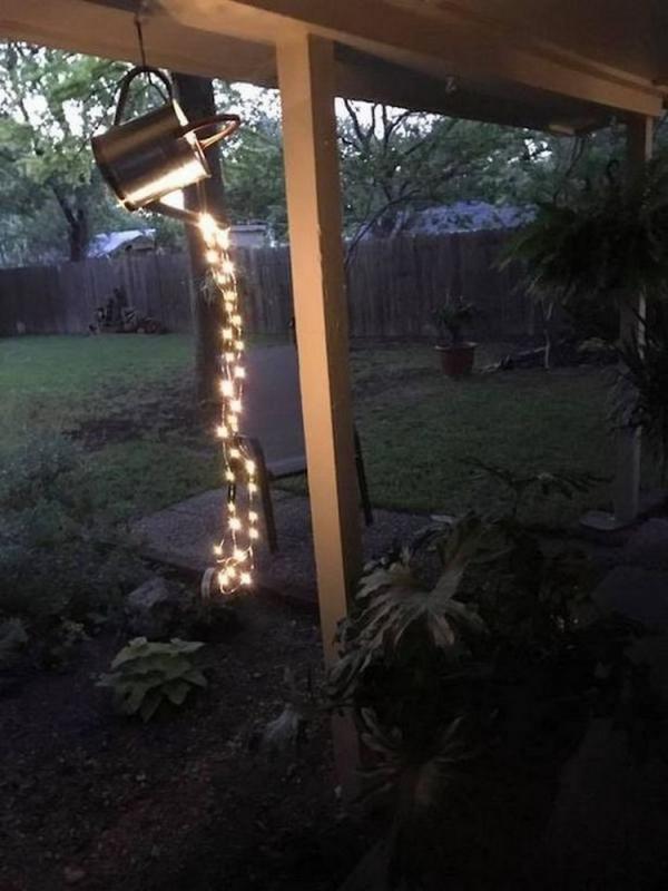 éclairage de jardin DIY sous le porche