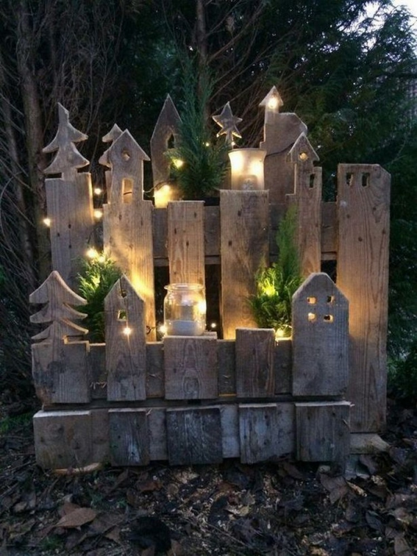 éclairage de jardin DIY utiliser du bois récup