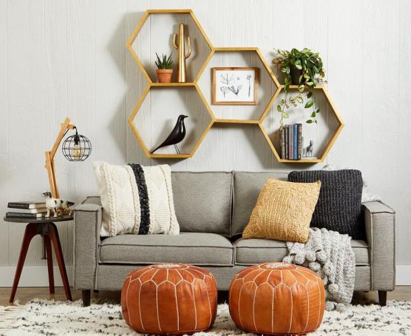 étagère murale décorative nid d'abeille