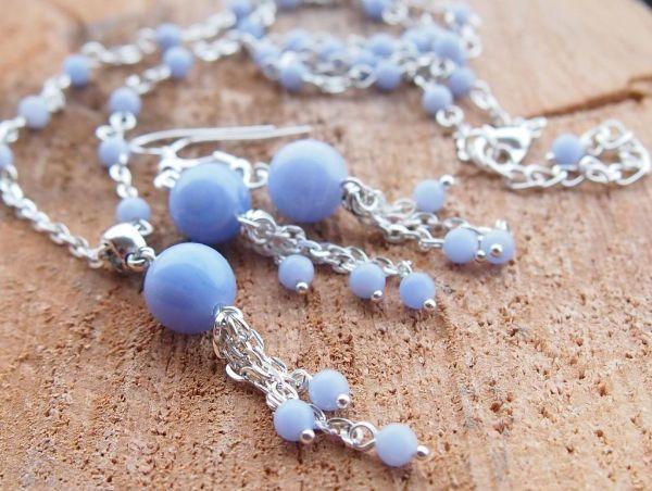 bijoux calcédoine bleue bracelet pierre anti-stress calcédoine bleue