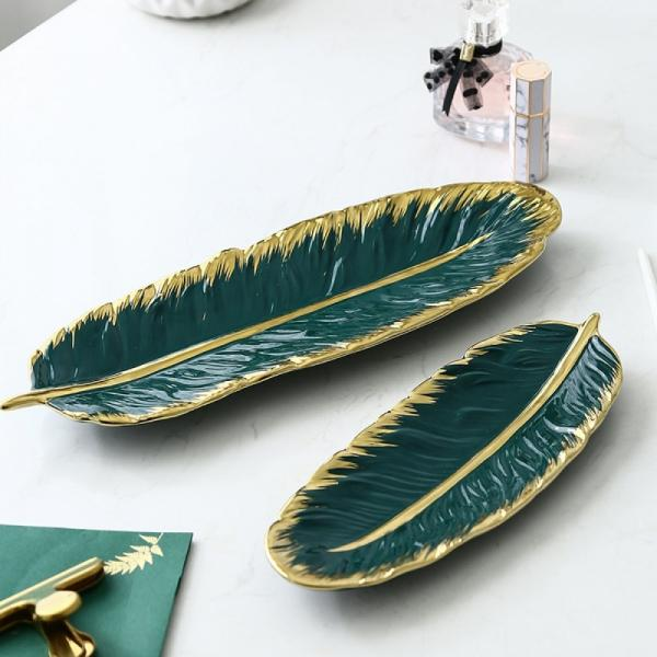 bols décoratifs en porcelaine sous la forme de feuille de bananier