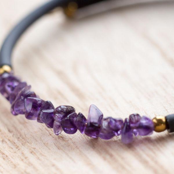 bracelet pierre anti-stress en améthyste et cuir
