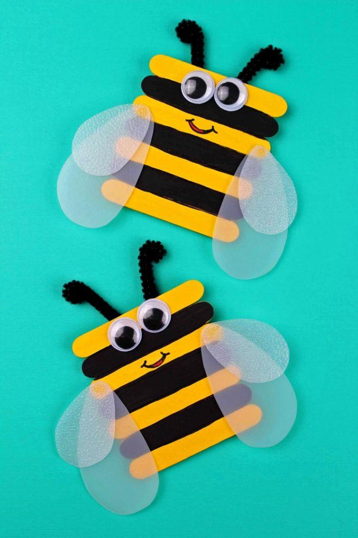 bricolage enfants bâton de glace en bois pour faire des abeilles