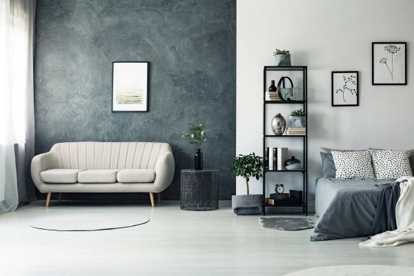 chambre à coucher mur d'accent gris anthracite