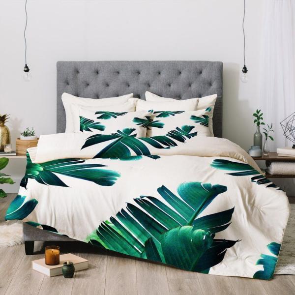 chambre linge de lit aux motifs feuille de bananier