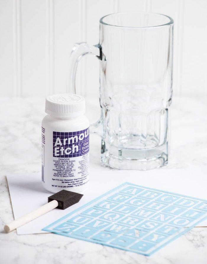 chope à bière diy déco gravure chimique sur verre
