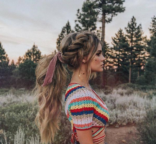 coiffure bohème look décontracté hippie