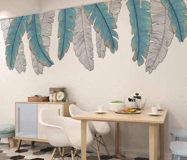 coin repas déco murale peinture feuille de bananier stylisée