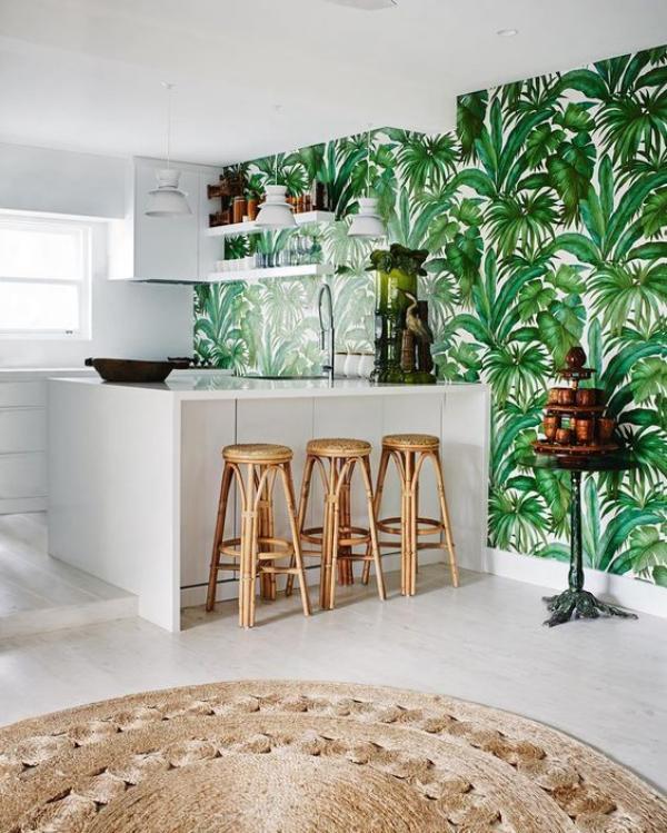 cuisine papier peint décoré de feuille de bananier