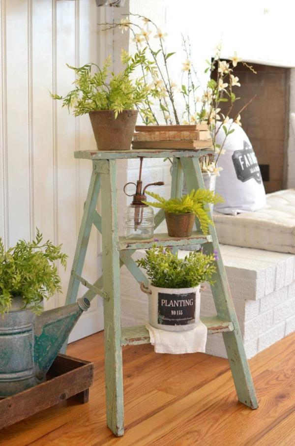 déco échelle bois un stand de fleurs