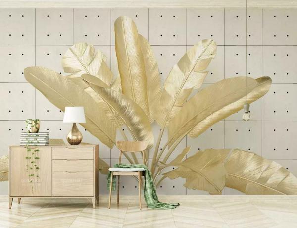déco murale de salon feuille de bananier dorée