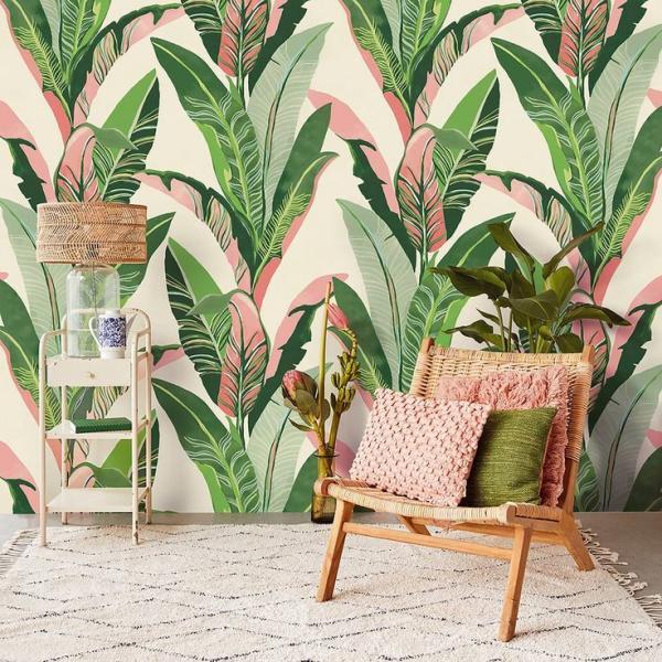 déco murale de salon papier peint aux motifs feuille de bananier en vert et rose
