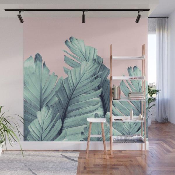 déco murale entrée peinture murale feuille de bananier
