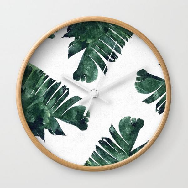 déco murale horloge motif feuille de bananier