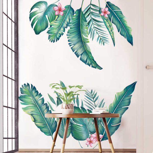 déco murale salon peinture murale feuille de bananier