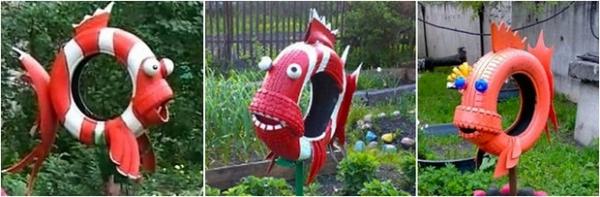 déco pneu recyclé des poissons rouges