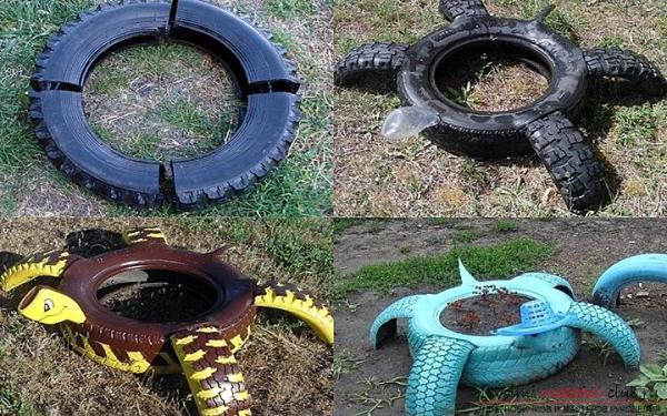 déco pneu recyclé faire une tortue