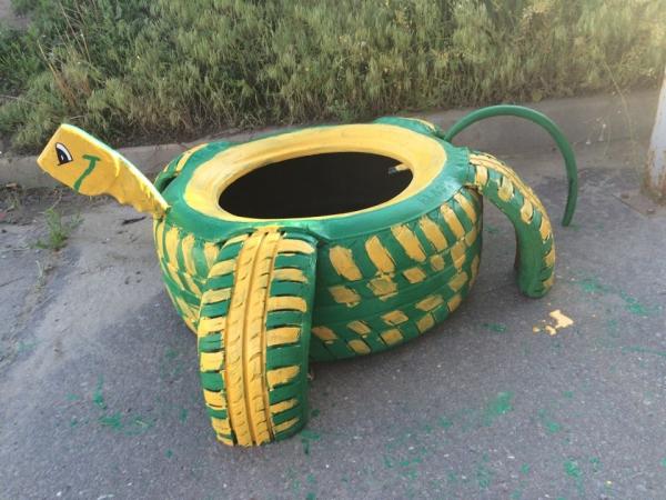 déco pneu recyclé très facile à exécuter