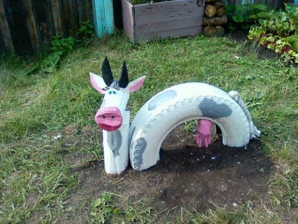déco pneu recyclé vache qui rit