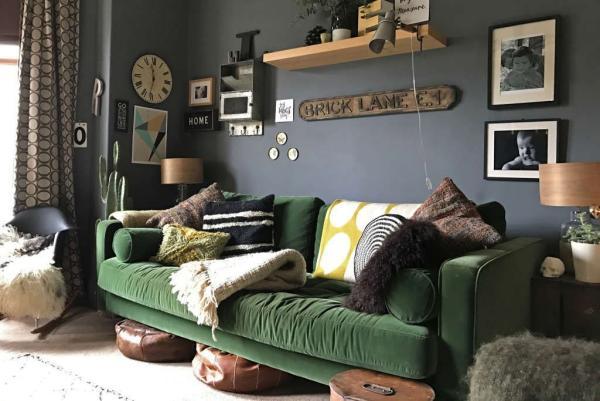 déco salon gris anthracite canapé vert