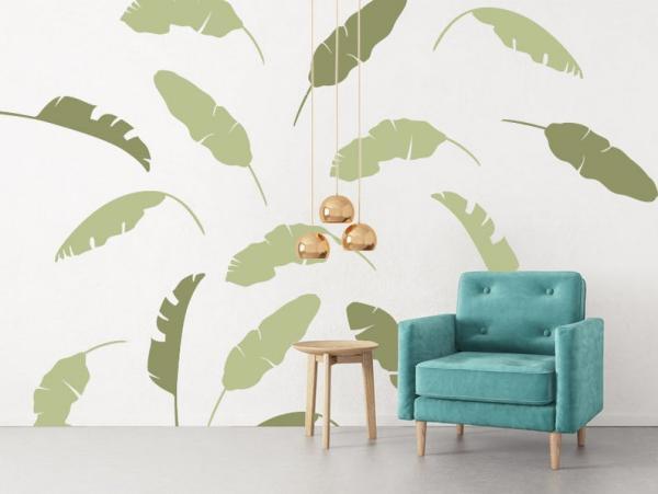déco salon peinture murale feuille de bananier sur mur blanc