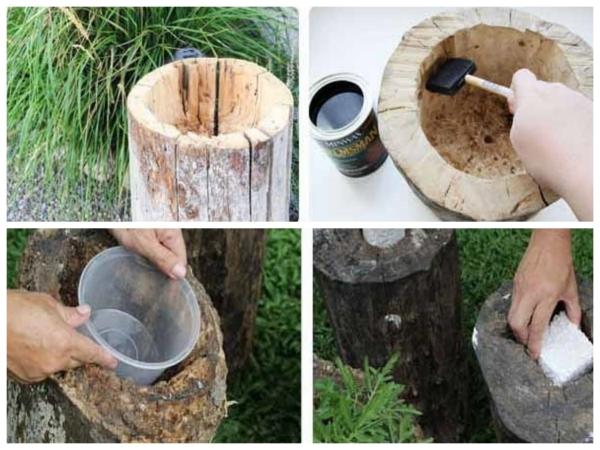 déco tronc d'arbre processus de creusage