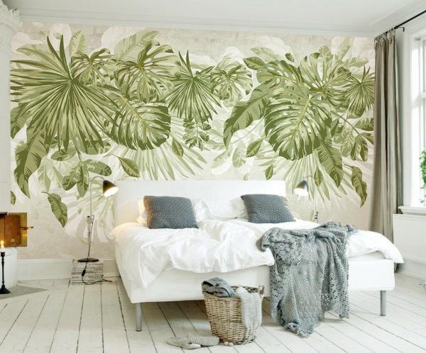 déco tropicale chambre peinture murale feuille de bananier