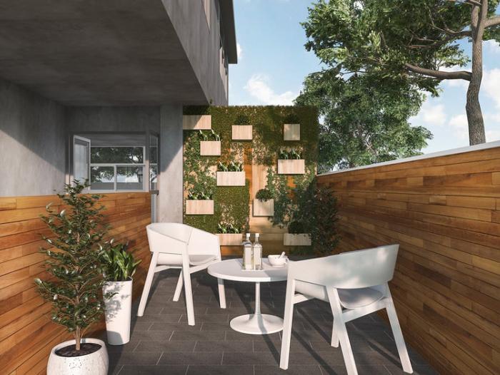 décoration terrasse extérieure moderne brise-vue en bois