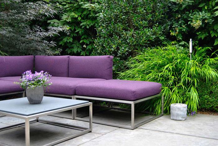 décoration terrasse extérieure moderne espace très verdoyant