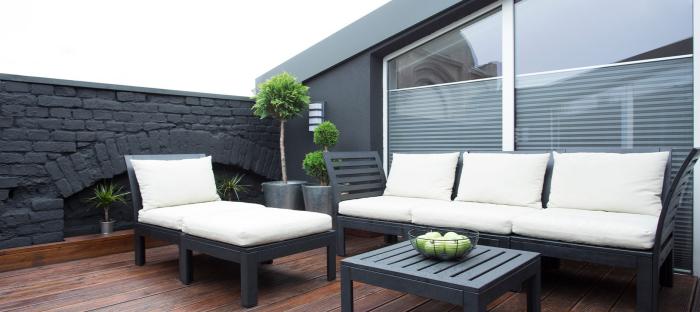 décoration terrasse extérieure moderne plancher en bois