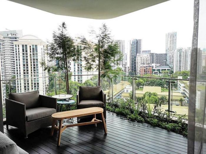 décoration terrasse extérieure moderne une bande de plantes