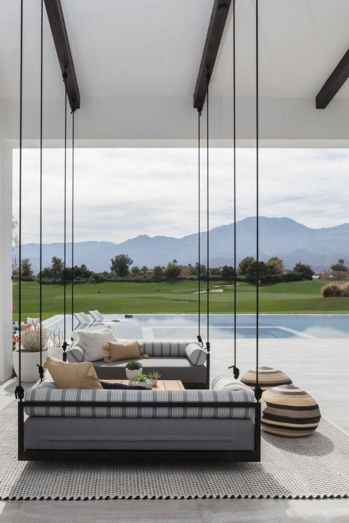 décoration terrasse extérieure moderne vue sur les montagnes