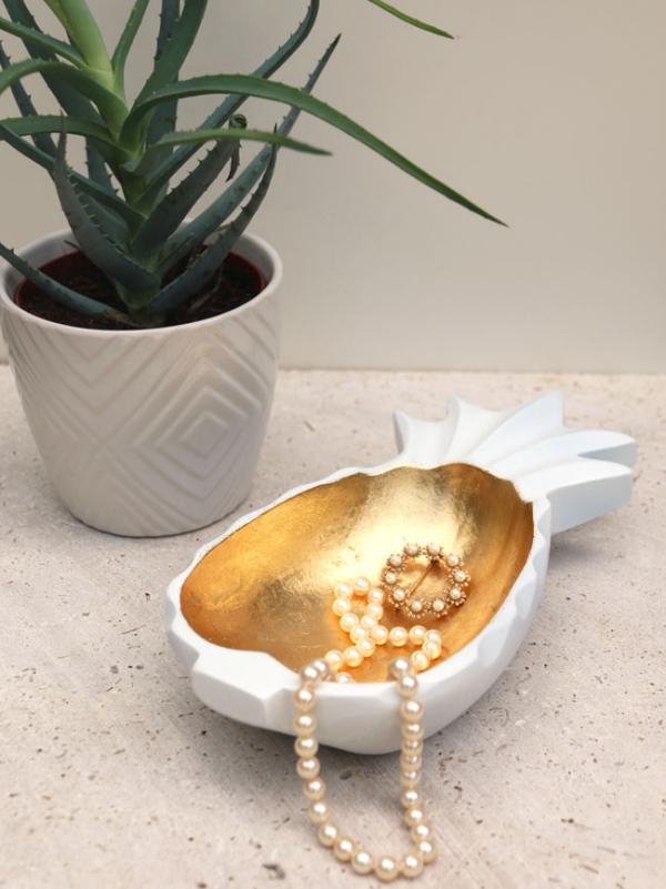 diy déco bol décoratif ananas feuille d'or