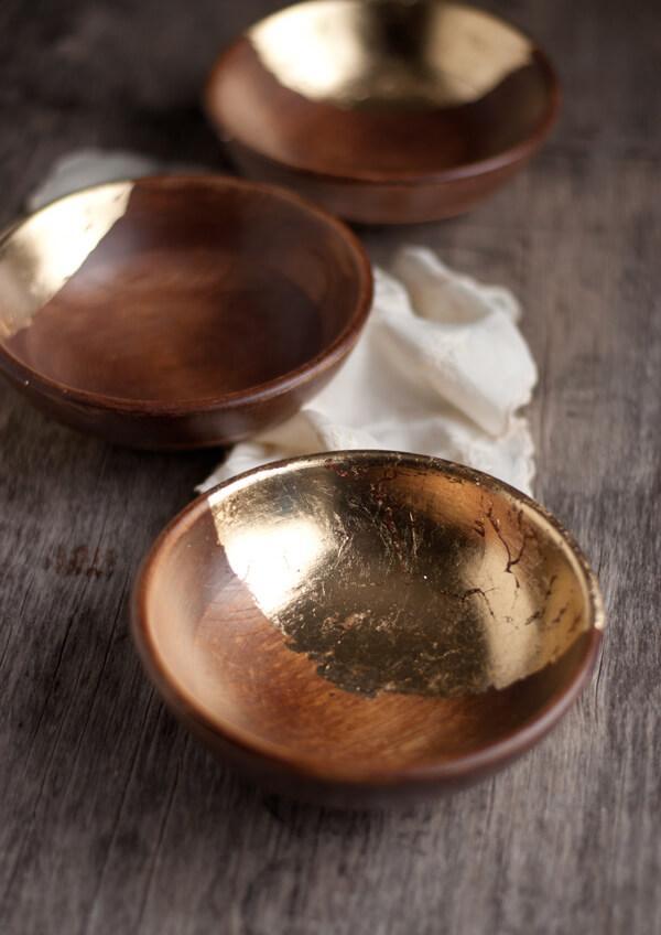 diy déco bol en bois feuille d'or