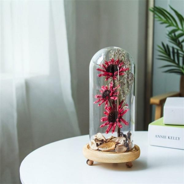 diy déco de table fleurs séchées sous cloche