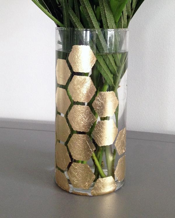 diy déco vase en verre feuille d'or