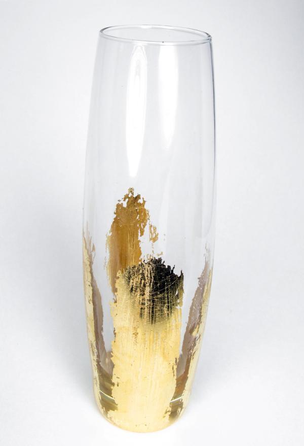 diy déco verre à vin feuille d'or