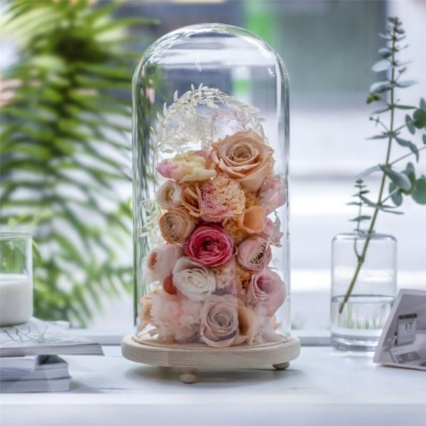 diy fleurs séchées sous cloche roses
