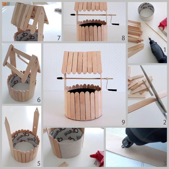 diy puits avec bâton de glace en bois