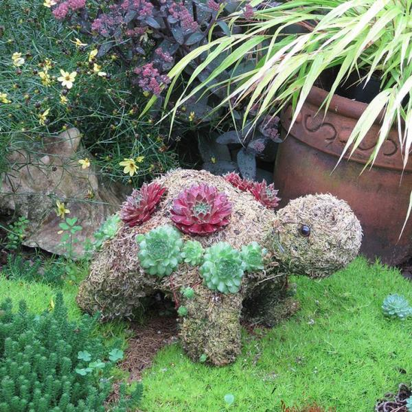 fabriquer une jardinière originale pour le jardin en forme de tortue