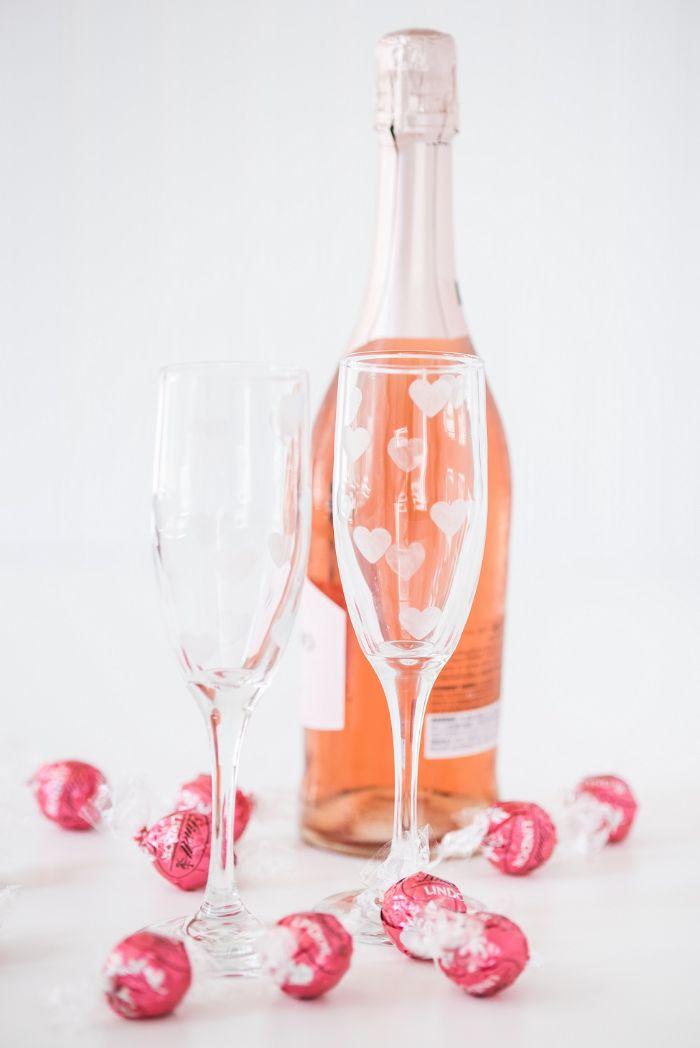 flûtes à champagne mariage diy déco gravure chimique sur verre
