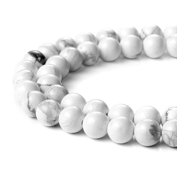 howlite bracelet pierre anti-stress en blanc