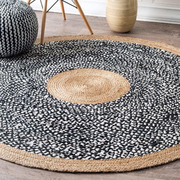 jute et coton tapis fibre naturelle modèle rond