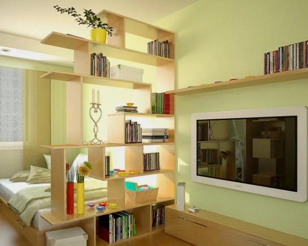la chambre à coucher étagères asymétriques