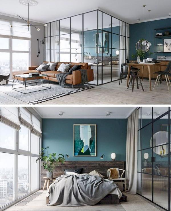 la chambre à coucher des murs vitrés