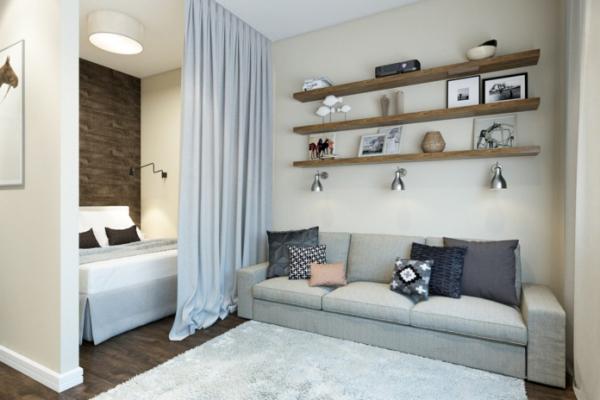la chambre à coucher des rideaux sur un rail